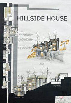 The Hillside House Sketchbook Architecture, Home Architecture Styles, Plans Architecture, Architecture Panel, Architecture Portfolio, Concept Architecture, Landscape Architecture, Architecture Design, Interior Design Presentation