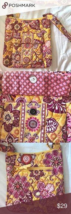 Vera Bradley Bag Authentic (Pink and Yellow) Vera Bradley Bag (Pink, White and Yellow). Beautifully quilted fabric. A timeless design. Great condition and authentic. Many different compartments. Vera Bradley Bags