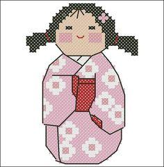Haru - Spring Kawaii Kokeshi Doll Japan Cross Stitch Pattern
