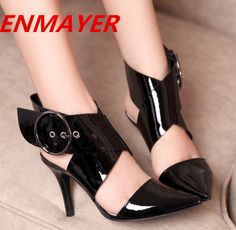 ENMAYERHigh Quality Genuine Leather Women Sexy Summer Shoes2014 New high heel sandals for women 2014 girls sandals wedding shoes $112.66