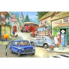 Lots of nostalgic detail here and the lovely vintage cars will create a special appeal for the men. Large, easy-to-handle pieces. Picture for guidance included.