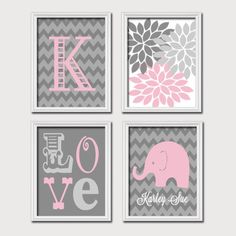 Monogram Child Name Pink Gray Grey Elephant Chevron Flower LOVE Child Nursery Print Artwork Set of 4 Prints Girl Wall Decor Art Picture Nursery Canvas, Elephant Nursery, Nursery Prints, Nursery Wall Art, Grey Elephant, Nursery Ideas, Nursery Decor, Girl Owl Nursery, Baby Girl Owl