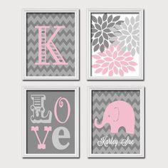 Monogram Child Name Pink Gray Grey Elephant Chevron Flower LOVE Child Nursery Print Artwork Set of 4 Prints Girl Wall Decor Art Picture Nursery Canvas, Nursery Artwork, Elephant Nursery, Nursery Prints, Grey Elephant, Canvas Artwork, Bedroom Canvas, Nursery Monogram, Monogram Wall