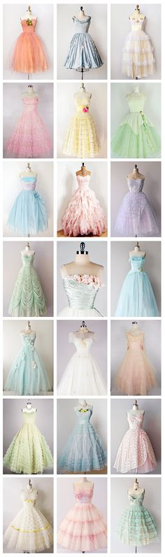 1950s Prom and Party Dresses-- they're so fluffy, I'm gonna die!!!!