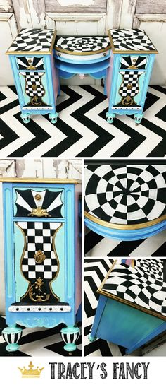 Whimsical Vanity by Tracey's Fancy | Whimsical Painted Furniture Ideas | Alice in Wonderland | #furnituremakeover #whimsical Painted Vanity #furniture #furnituredesign #whimsy