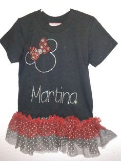 Bedazzle a plain t-shirt with tulle & rhinestones!!  #Minnie Mouse #DIY #craft
