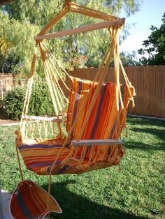Petras Polycotton Padded Hammock Chair Swing & Foot Rest, Orange & Yellow Stripe Color:Amazon:Patio, Lawn & Garden