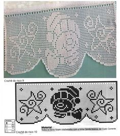 Häkelvorhänge Plus Size plus size capris Crochet Snowflake Pattern, Crochet Borders, Crochet Doilies, Crochet Patterns, Crochet Decoration, Crochet Home Decor, Filet Crochet Charts, Knitting Charts, Thread Crochet