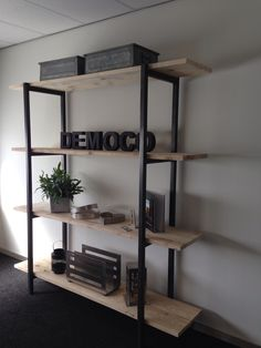 Wandmeubel staal en steigerhout. Made by Democo Display Shelves, Shelving, Wood Steel, First Home, Bookcase, New Homes, Living Room, Interior Design, Bedroom