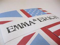Handmade english and american flag wedding invitation design For bespoke wedding stationery, check out http://www.lovebirdbespoke.com/