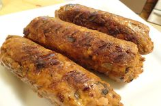 """<p>These sausages are firm enough to hold up on the grill. When you cook them, they are crispy on the outside, tender on the inside but not mushy, and filled with spicy, Italian flavor. Using black-eyed peas instead of pintos removed the """"beany"""" taste and provided a neutral background for the spices to shine through.</p>"""