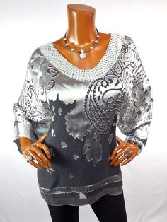 CHICO'S TRAVELERS Sz 2 Top M L SILK Tunic Blouse Casual Shirt Black Silver Gray #Chicos #Blouse #Casual