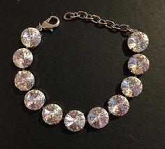 12 mm White Patina Swarovski Crystal Bracelet by PrettyInCrystal