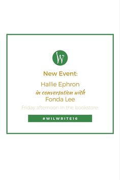 New event - Friday afternoon In the bookstore: Hallie Ephron in conversation with Fonda Lee. This will be fun!