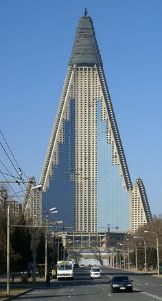 Ryugyong Hotel (Pyongyang in North Korea, 1987-1992 by Baikdoosan Architects & Engineers / 2008–Present by Orascom Construction Industries)