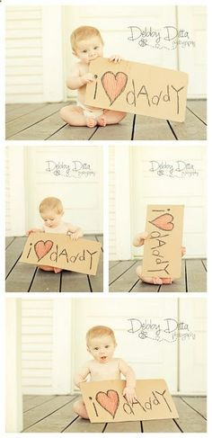 Baby boy at six 6 months. Debby Ditta Photography: Baby Happy Fathers Day with sign. Tomball Houston Texas Photographer