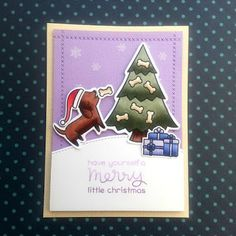 "My last Christmas card of 2016, using the ""Happy Howloween"" stamp set from ""Lawn Fawn""."
