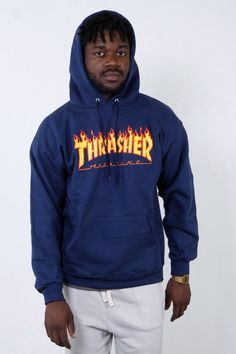 Thrasher - Flame Hood, thrusher, mug, tee, black, white, shirt, hood, hoodie, rihanna, outfit, wallpaper, white, black, style, trend, fashion, men, boy, women, girl, skate, skater, skateboard, skateboarding, 2017, magazine, clothing, flame, fire, onfire, blue, goat, skull,