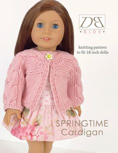 Doll clothes knitting pattern PDF for 18 inch American Girl type doll (AG doll): Springtime Cardigan