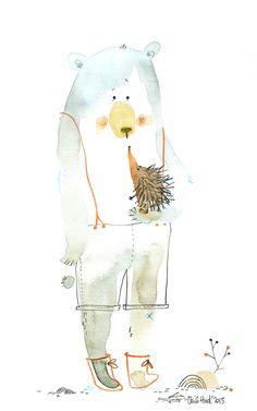 stupid bear et le herisson, aquarelle, Cécile Hudrisier