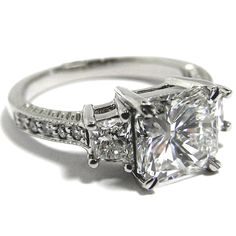 Three Stone Radiant Cut Diamond Engagement Ring with Trapezoids  - ES127RA