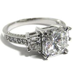 Three Stone Radiant Cut Diamond Engagement Ring with Trapezoids  - ES127RA