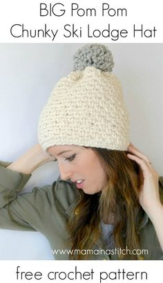 Chunky, easy, knit like ONE SKEIN, ONE EVENING crochet hat pattern from Mama In A Stitch. #freepattern #modern #crochet #pretty