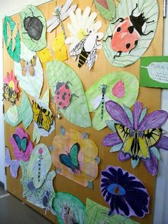 Draw/paint large leaves and stick large illustrations of bugs on them. Kids choose between butterflies, ladybirds, dragonfly's etc. Grade 1 Art, Crafts For Kids, Arts And Crafts, Family Fun Day, Arts Ed, Art Programs, Eyfs, Zoology, Summer School