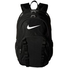 Nike Brasilia 7 Backpack Mesh XL (Black/Black/White) Backpack Bags ($50) ❤ liked on Polyvore featuring bags, backpacks, crystal clear bags, clear backpack, nike backpack, nike and strap backpack