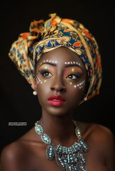 Inspo for the freckles/markings on Karina's face African Beauty by AJP Joseph on African Tribal Makeup, Tribal Face, African Beauty, African Fashion, Ghanaian Fashion, African Style, Ethnic Fashion, Turbans, African Head Wraps