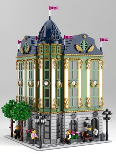 Interesting use of color Lego modular inspired by rococo architecture. Computer rendering but only existing bricks were used. Lego Modular, Lego Minecraft, Lego Moc, Minecraft Skins, Minecraft Buildings, Lego Design, Lego Disney, Legos, Lego Poster