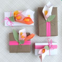 DIY Paper Calla Lilies, great page for wrapping ideas Wrapping Ideas, Creative Gift Wrapping, Creative Gifts, Creative Ideas, Wrapping Gifts, Creative Inspiration, Pretty Packaging, Gift Packaging, Diy Paper