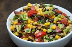 A fresh black bean salad, perfect for a summer picnic or potluck. Red bell peppers, jalapeños, avocado, black beans and corn combined to give this salad its kick and fresh flavors. Healthy Recipes, Great Recipes, Salad Recipes, Cooking Recipes, Favorite Recipes, Family Recipes, Cooking Tips, Corn Recipes, Fast Recipes