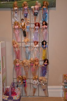 Things I learned on Pinterest...  Barbie organization using a shoe bag. $5.99