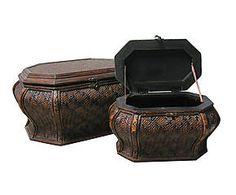 Set di 2 bauletti in legno effetto tessuto Vienna - max 59x32x44 cm
