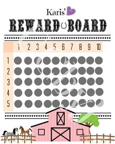 Horse Lover Reward Chart on Etsy, $6.00