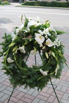 Funeral Floral Arrangements, White Flower Arrangements, Flower Arrangement Designs, Flower Wreath Funeral, Funeral Flowers, Condolence Flowers, Sympathy Flowers, Casket Flowers, Funeral Sprays