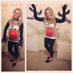 Ugly Christmas Sweater Girl Strikes again!   DIY Ugly Christmas Sweater Reindeer Def pin this for next year #UglySweater #diy #UglySweaterParty #christmasSweater