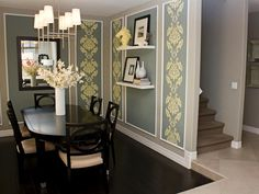 Britany added moldings to give this new home's dining room added architectural interest. She hand-painted the floral pattern inside the moldings using a large-scaled stencil for a similar effect to framed wallpaper at a fraction of the cost.