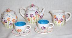 Ceramic  Little Girls/Child Mini Tea Set  Fun by VickyLynnDesigns, $28.50