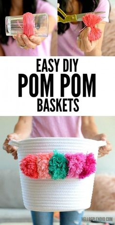 LOVE This! DIY Pom Pom Baskets - so cute for storage! She shows how to make them step by step using inexpensive materials.
