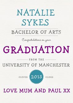 Personalised with their name, the university they attended, degree achieved, and a message from you! | Personalised Card - Congratulations On Your Graduation