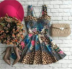 Vestido Taya Alcinha Mix de Estampas - cod 7019