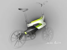 Peugeot Concept Bike DL122 I A lovely little sketch with just enough form building in the rendered areas to draw your eye to the sketch and concept, caisdesign.com Velo Design, Bicycle Design, Peugeot, Bicycle Sketch, Industrial Design Sketch, Kick Scooter, Bike Style, Motorcycle Design, Conceptual Design