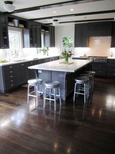 Dark, light, oak, maple, cherry cabinetry and solid wood kitchen cabinets ontario. CHECK THE IMAGE for Various Wood Kitchen Cabinets. Dark Grey Kitchen Cabinets, Dark Wood Kitchens, Dark Wood Cabinets, Wood Floor Kitchen, Painting Kitchen Cabinets, Kitchen Flooring, Modern Kitchens, Kitchen Grey, White Cabinets