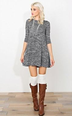 2534220dc6b Grey marled trapeze dress with white over the knee socks and deep brown  knee high boots