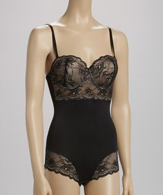 Loving this Black & Nude Lace Shaper Bodysuit - Women & Plus on #zulily! #zulilyfinds