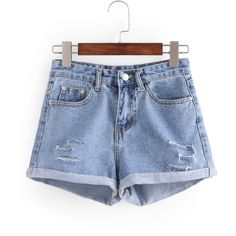 SheIn(sheinside) Ripped Rolled Hem Denim Shorts (€13) ❤ liked on Polyvore featuring shorts, destroyed jean shorts, ripped denim shorts, denim shorts, distressed jean shorts and blue shorts