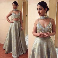 Find top 21 trending metallic bridal lehenga designs for this wedding season. Metallic bridal lehenga designs you cannot afford to miss, must check out once. Dress Indian Style, Indian Fashion Dresses, Indian Designer Outfits, Lehnga Dress, Nikkah Dress, Pakistani Dresses, Bollywood Dress, Bollywood Stars, Indian Wedding Outfits