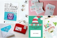 10 lovely DIY and printable gift card holders for the holidays, most of them free